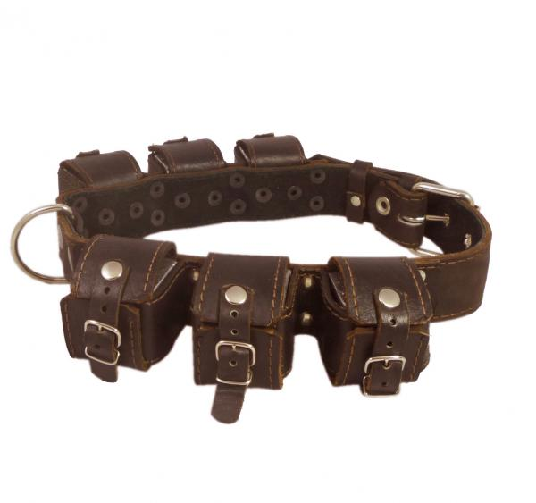 6lbs Genuine Leather Weighted Dog Collar
