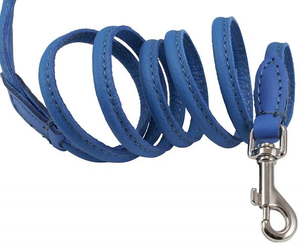 4ft Long Round Genuine Rolled Leather Dog Leash