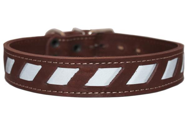 Quality Genuine Leather Reflective Dog Collar