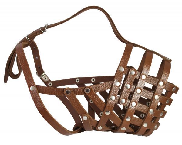 Secure Leather Mesh Basket Muzzle #16