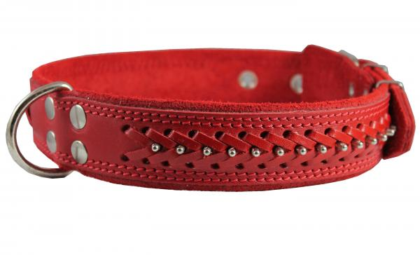 Leather Braided Studded Dog Collar
